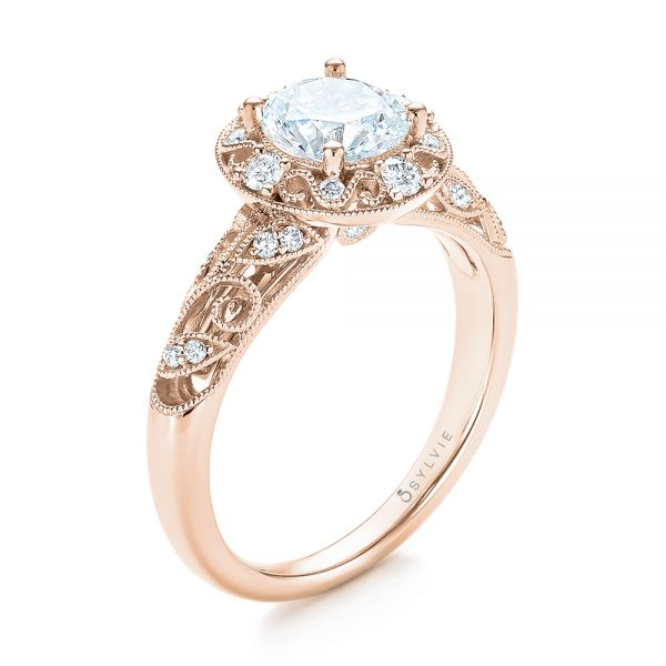 18k Rose Gold 18k Rose Gold Diamond Halo Engagement Ring - Three-Quarter View -  103906