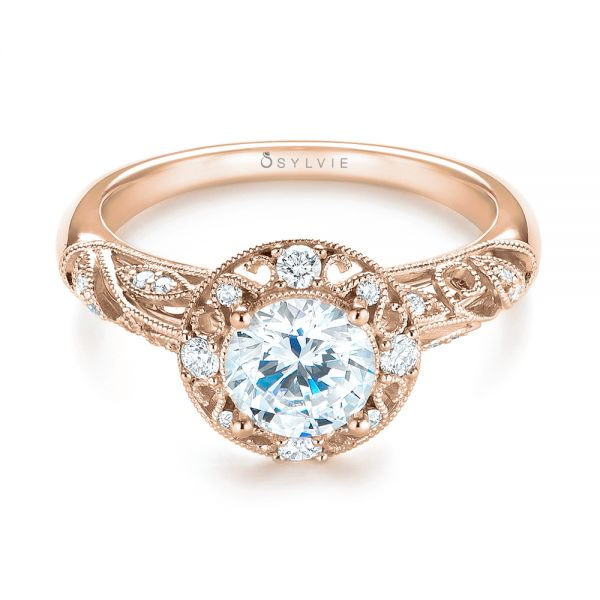 18k Rose Gold 18k Rose Gold Diamond Halo Engagement Ring - Flat View -  103906