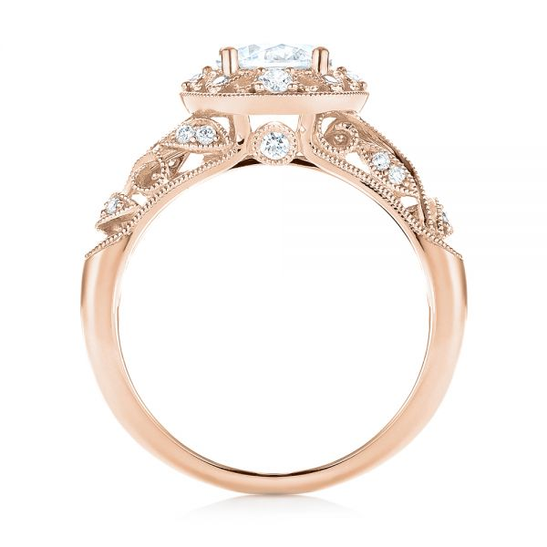 18k Rose Gold 18k Rose Gold Diamond Halo Engagement Ring - Front View -  103906