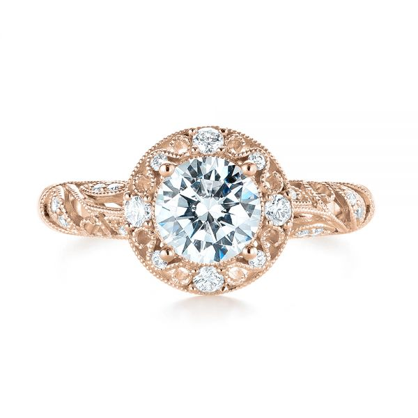 18k Rose Gold 18k Rose Gold Diamond Halo Engagement Ring - Top View -  103906