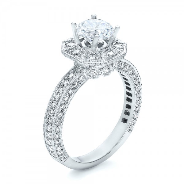 Diamond Halo Engagement Ring - Vanna K