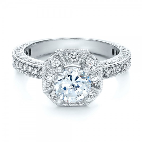 Diamond Halo Engagement Ring - Vanna K - Laying View