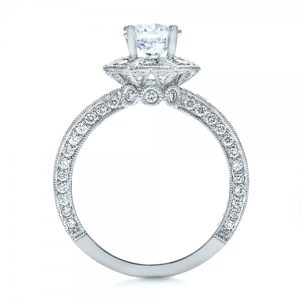 Diamond Halo Engagement Ring - Vanna K - Finger Through View