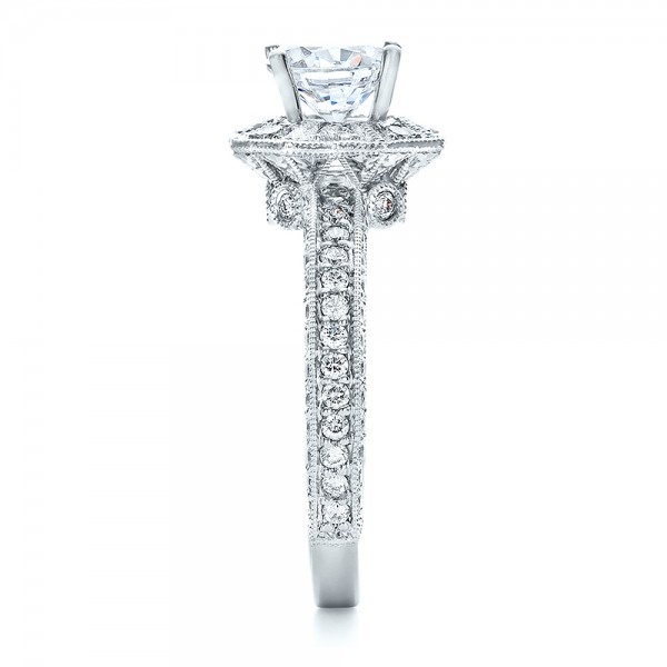 Diamond Halo Engagement Ring - Vanna K - Side View