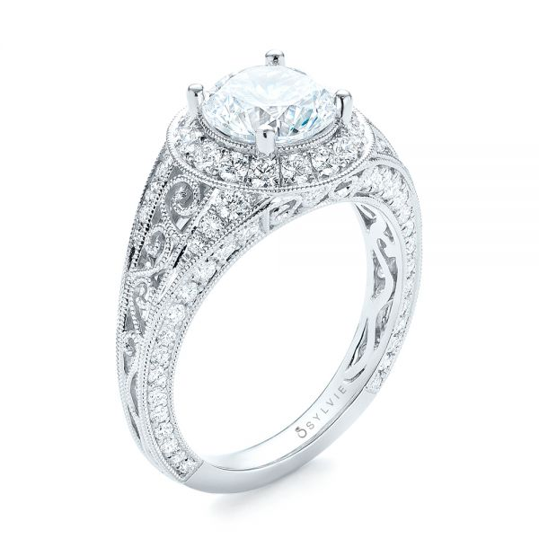 Diamond Halo Engagement Ring - Image