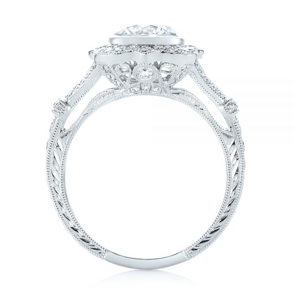 Diamond Halo Engagement Ring - Front View -  103645 - Thumbnail
