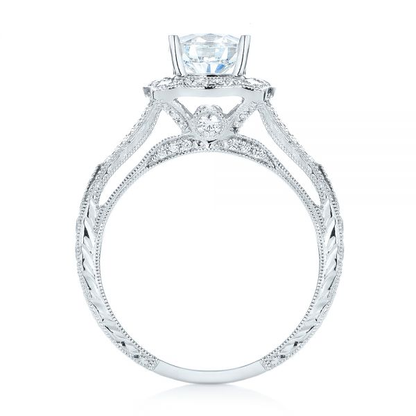 18k White Gold Diamond Halo Engagement Ring - Front View -
