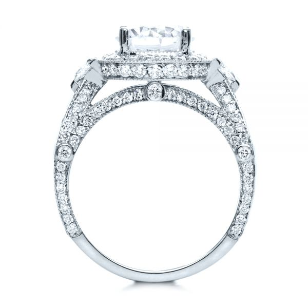 14k White Gold 14k White Gold Diamond Halo Engagement Ring - Front View -