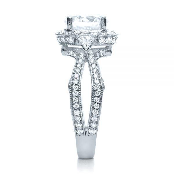 14k White Gold 14k White Gold Diamond Halo Engagement Ring - Side View -