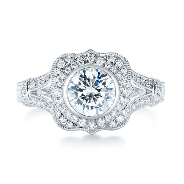 Diamond Halo Engagement Ring - Top View -  103645 - Thumbnail