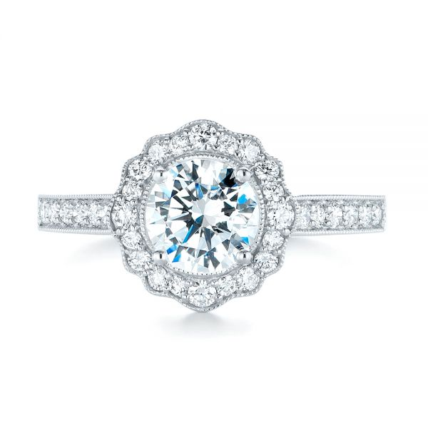 18k White Gold Diamond Halo Engagement Ring - Top View -