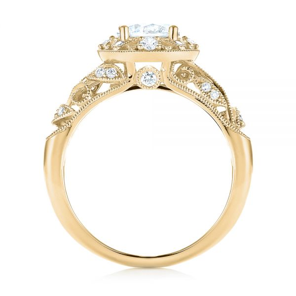 18k Yellow Gold 18k Yellow Gold Diamond Halo Engagement Ring - Front View -  103906