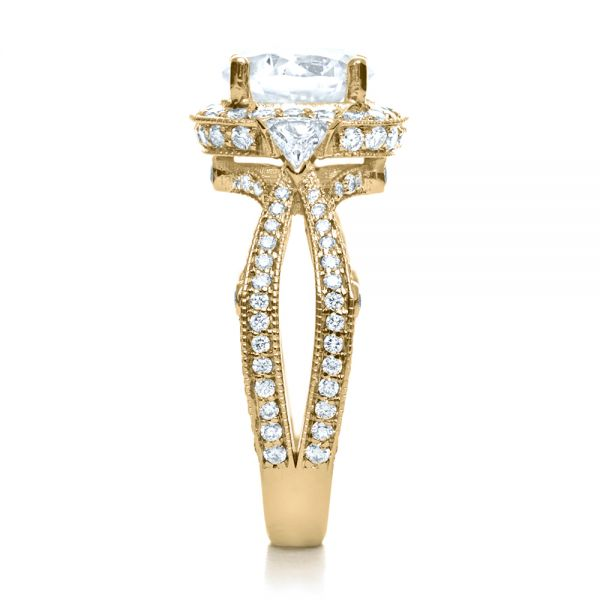 14k Yellow Gold 14k Yellow Gold Diamond Halo Engagement Ring - Side View -