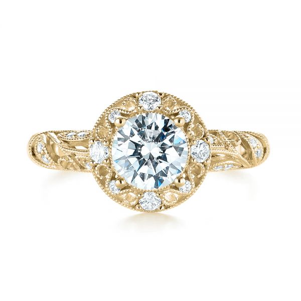 18k Yellow Gold 18k Yellow Gold Diamond Halo Engagement Ring - Top View -  103906