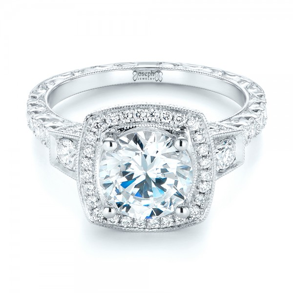 Diamond Halo Engagement Ring - Laying View