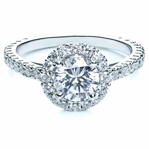 Diamond Halo Engagement Ring - Laying View