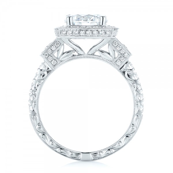 Diamond Halo Engagement Ring - Finger Through View
