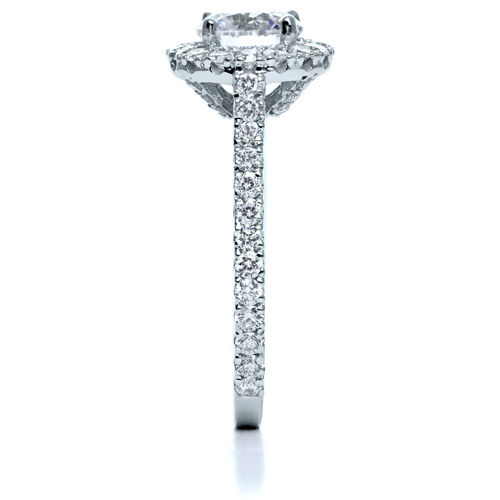 Diamond Halo Engagement Ring - Side View