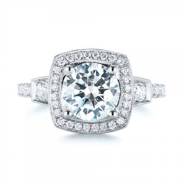 Diamond Halo Engagement Ring - Top View