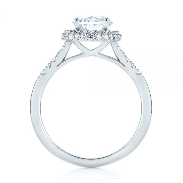 Diamond Halo Split Shank Engagement Ring - Front View -  104326 - Thumbnail