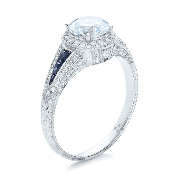 Diamond Halo and Blue Sapphire Engagement Ring - Image