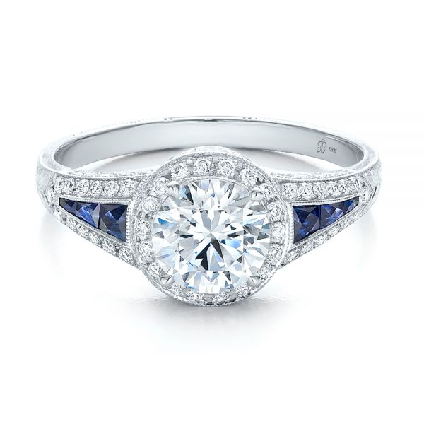 Diamond Halo And Blue Sapphire Engagement Ring - Flat View -