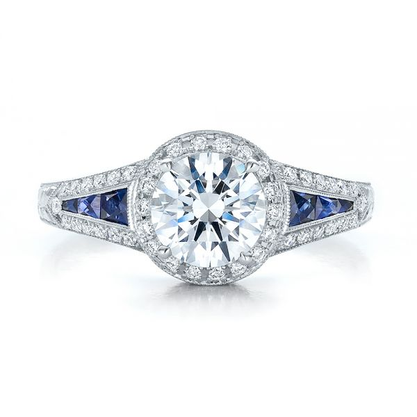 Diamond Halo And Blue Sapphire Engagement Ring - Top View -