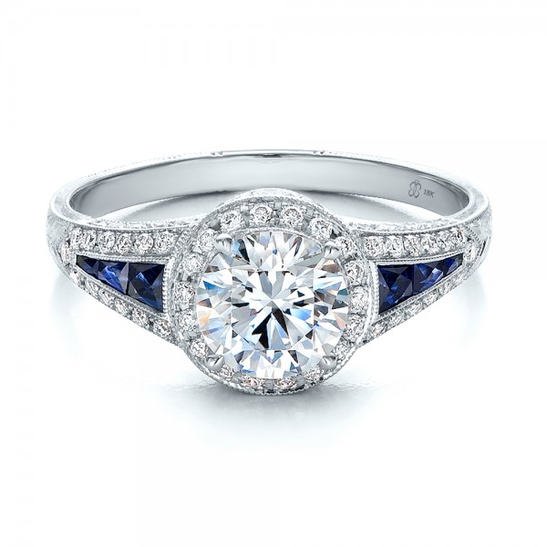 ... Diamond Halo and Blue Sapphire Engagement Ring - Laying View ...