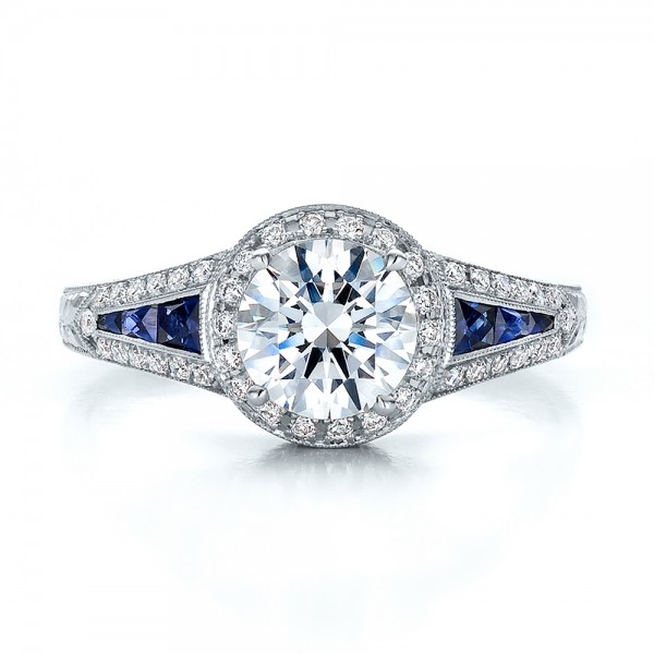 ... Diamond Halo and Blue Sapphire Engagement Ring - Top View ...