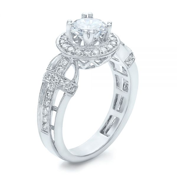 Diamond Halo and Cross Engagement Ring - Vanna K - Image