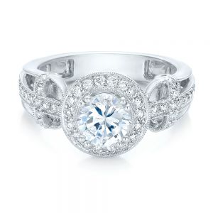Diamond Halo and Cross Engagement Ring - Vanna K