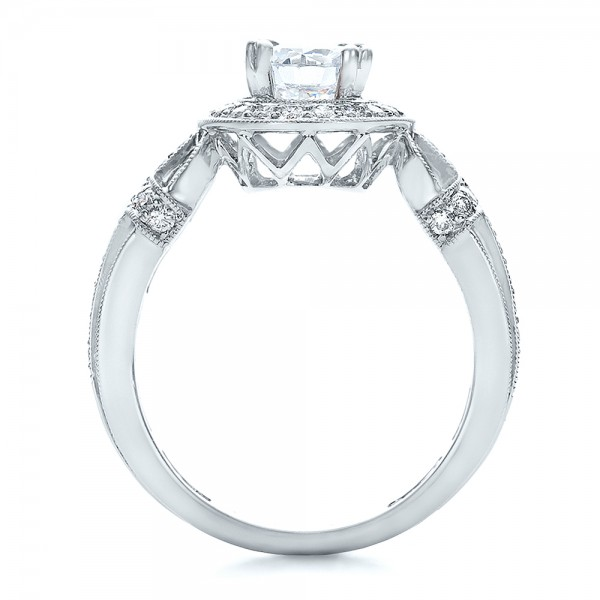 Diamond Halo and Cross Engagement Ring - Vanna K - Finger Through View