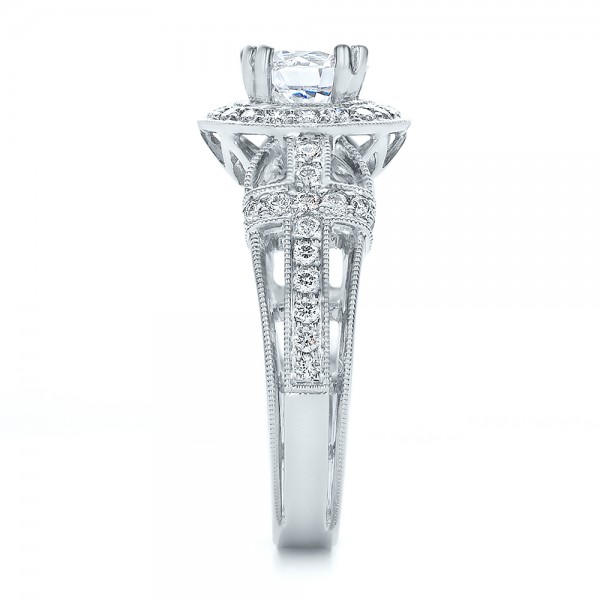 Diamond Halo and Cross Engagement Ring - Vanna K - Side View