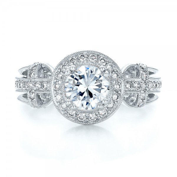 Diamond Halo and Cross Engagement Ring - Vanna K - Top View
