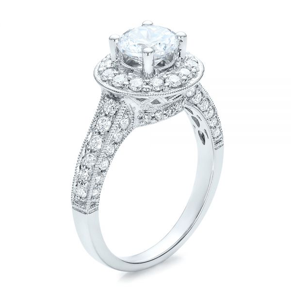 Diamond Halo and Filigree Engagement Ring - Vanna K - Image