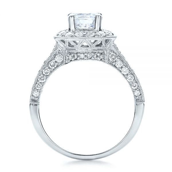 18k White Gold Diamond Halo And Filigree Engagement Ring - Vanna K - Front View -  100684