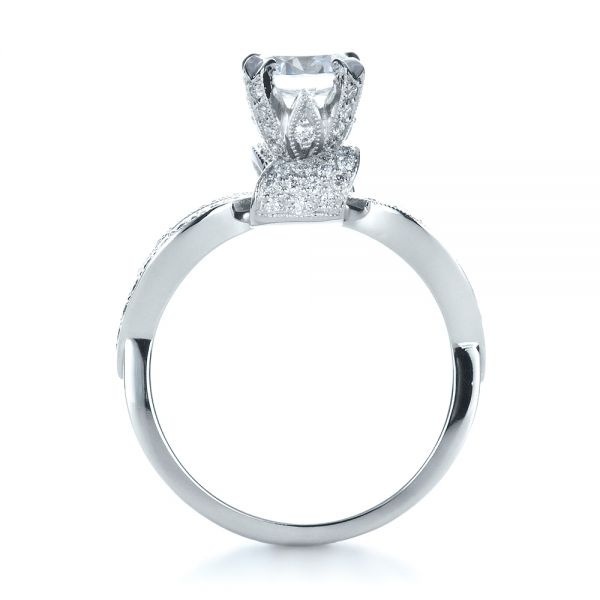 Diamond Pave Engagement Ring - Front View -  1281 - Thumbnail