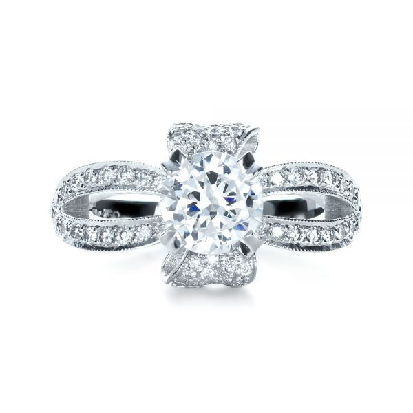 Diamond Pave Engagement Ring - Top View -  1281 - Thumbnail