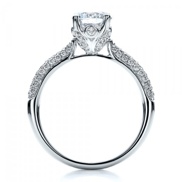 Diamond Pave Engagement Ring - Finger Through View