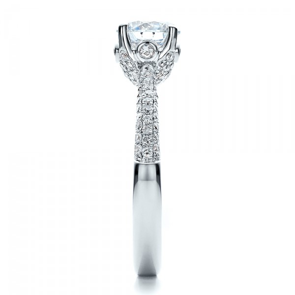 Diamond Pave Engagement Ring - Side View