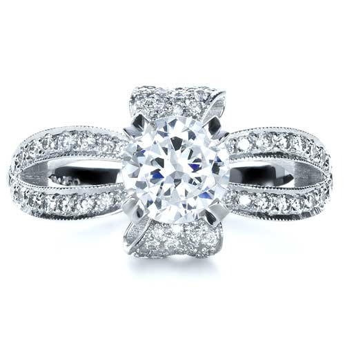 Diamond Pave Engagement Ring - Top View