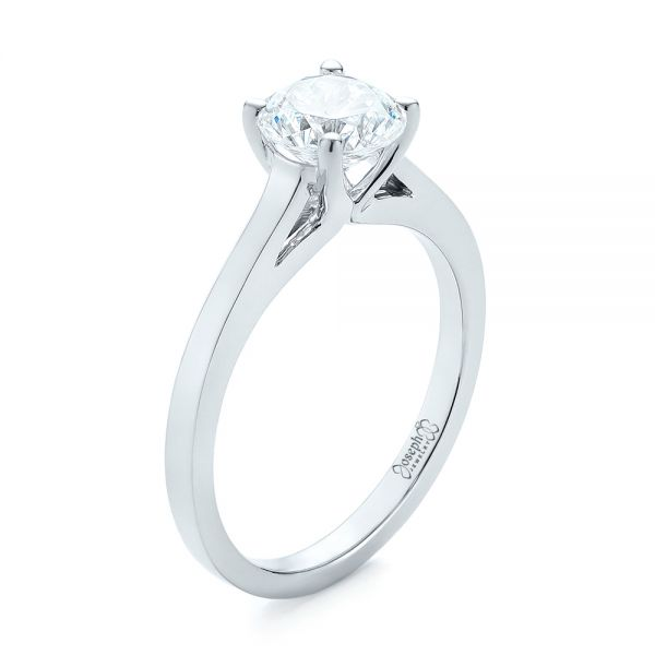 18k White Gold Diamond Solitaire Engagement Ring - Three-Quarter View -  104185
