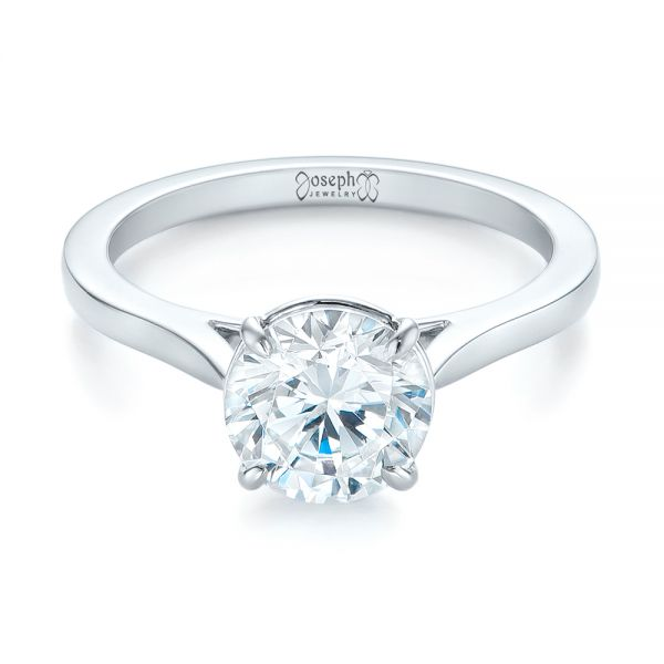 18k White Gold Diamond Solitaire Engagement Ring - Flat View -