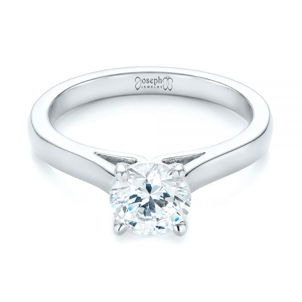 Platinum Platinum Diamond Solitaire Engagement Ring - Flat View -