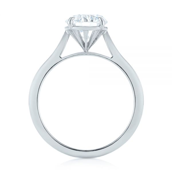 18k White Gold Diamond Solitaire Engagement Ring - Front View -