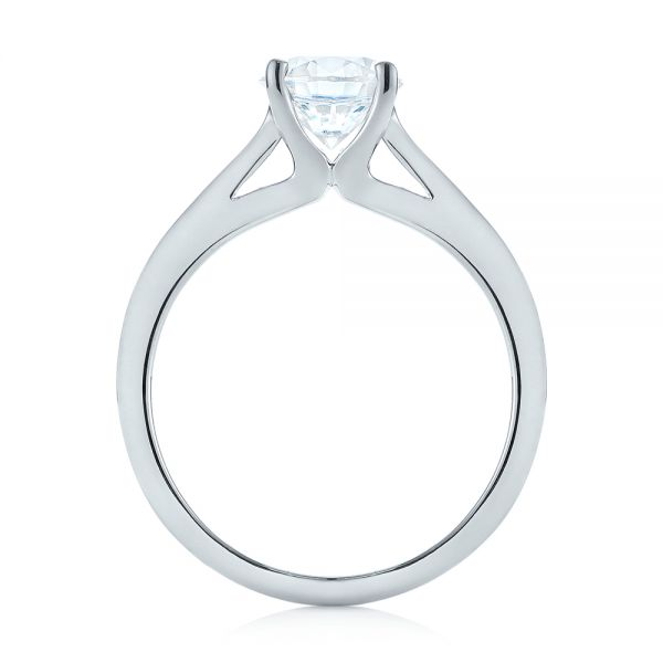 18k White Gold Diamond Solitaire Engagement Ring - Front View -  104185