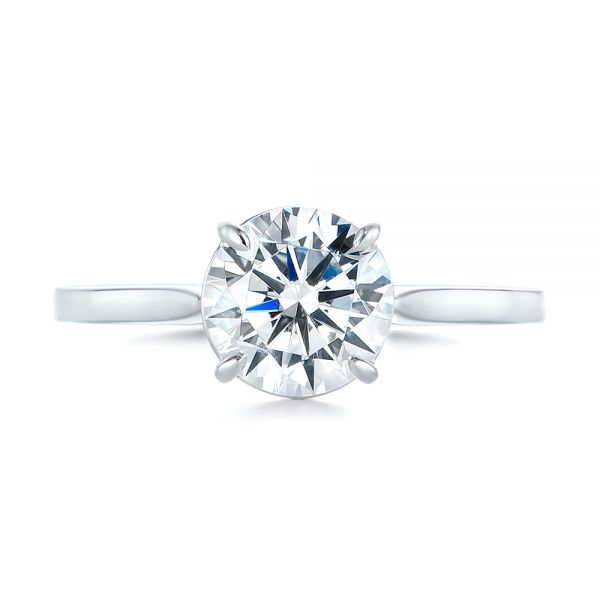 18k White Gold Diamond Solitaire Engagement Ring - Top View -