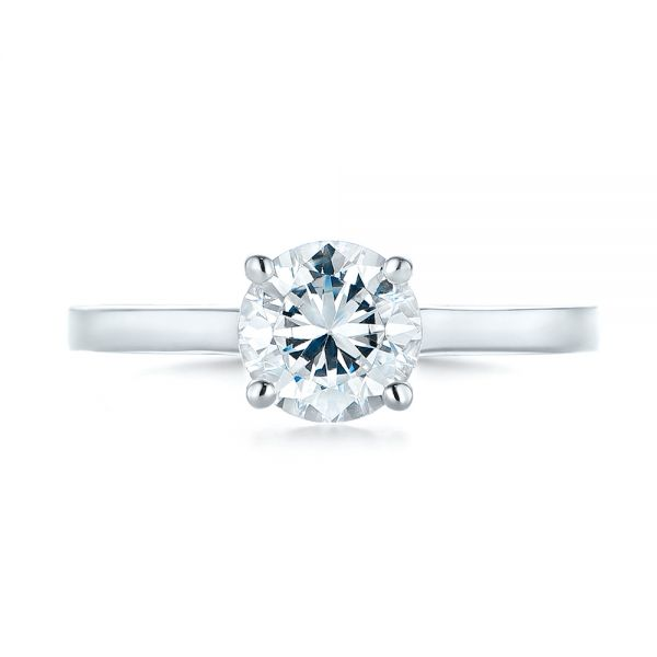 18k White Gold Diamond Solitaire Engagement Ring - Top View -  104185