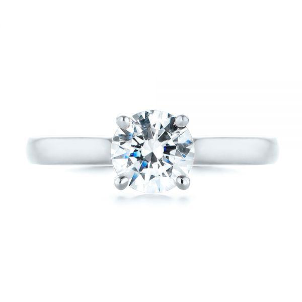 Platinum Platinum Diamond Solitaire Engagement Ring - Top View -