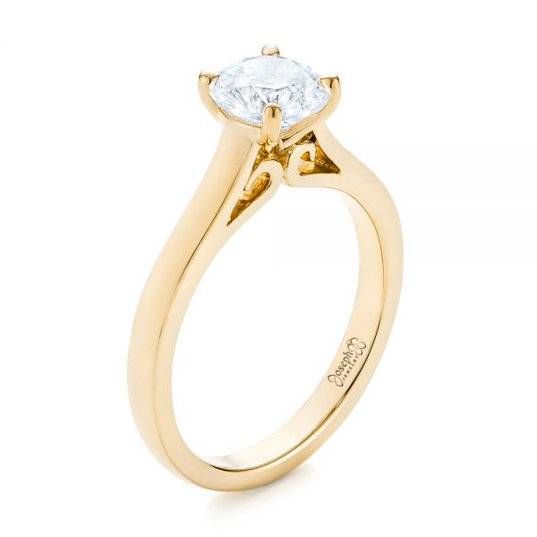14k Yellow Gold 14k Yellow Gold Diamond Solitaire Engagement Ring - Three-Quarter View -
